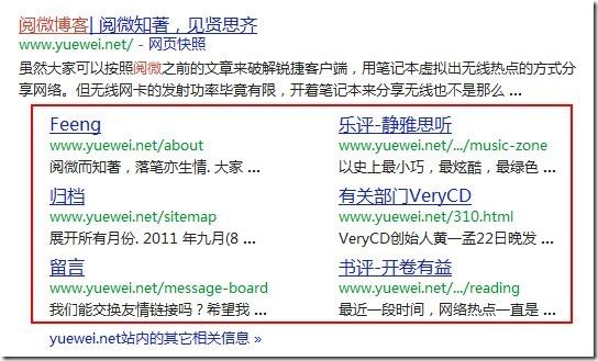 阅微博客Google Sitelink(站点链接)